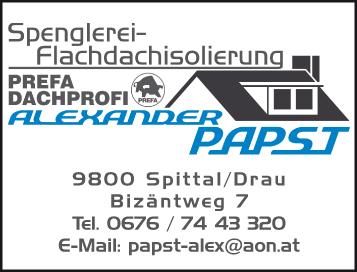 Werbung PAPST Alexander Spenglerei-Flachdachisolierung