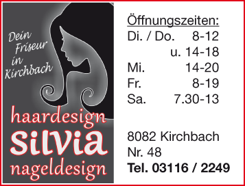 haar und nageldesign silvia 8082 kirchbach i d stmk. Black Bedroom Furniture Sets. Home Design Ideas