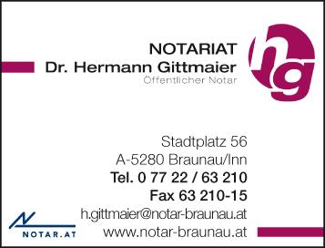 Werbung Notariat Braunau Dr. Hermann Gittmaier