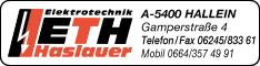 Werbung ETH Elektro-Technik-Haslauer