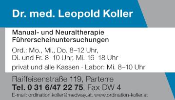 Werbung Koller Leopold Dr