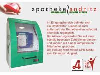 Defibrillator im Eingangsbereich