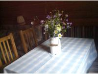 Wohnraum, Essraum, Schlafzimmer, Küche und DU/WC:  Für sieben Peronen bequem Platz.