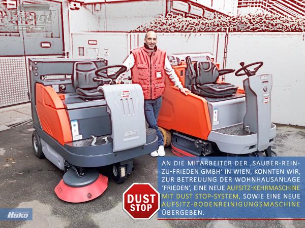 Mitarbeiter der Sauber Rein Zu Frieden GmbH in Wien reinigen ab sofort mit zwei neune Kehrmaschinen