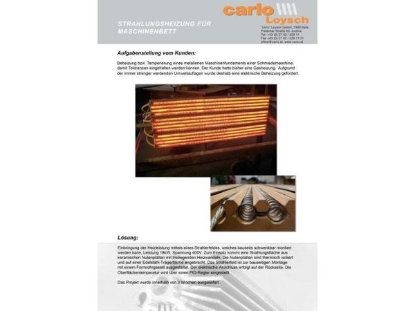 Vorschau - Beispiel Sonderfertigung: Strahlungsheizplatten