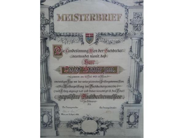 Meisterbrief (1950) von Josef Stöhr (geb. 1925)