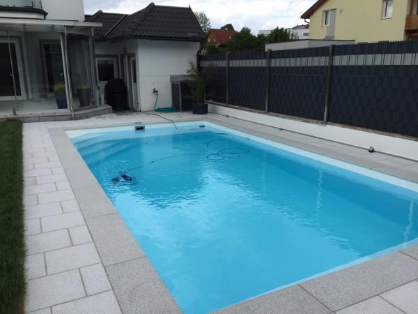 Pumo handels gmbh 2103 langenzersdorf schwimmb der for Poolfolie verlegen firma