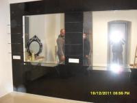Friseurrückwand Schwarze Lacobell und Spiegel