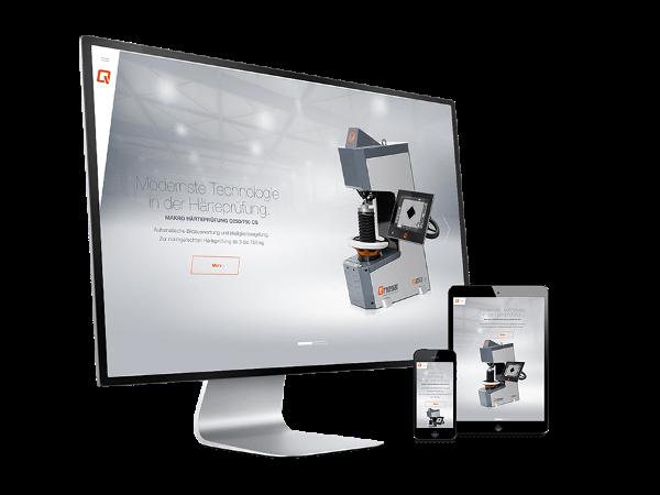 Vorschau - Webportal mit Produkt Konfigurator & Corporate Design für Qness Härteprüfung