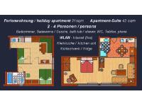Ferienwohnung und Apartment (mit Kleinküche) für 2 - 4 Personen