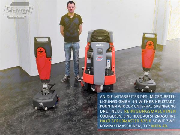 Übergabe von drei Reinigungsmaschinen an Micro Beteiligungs GmbH in Wiener Neustadt