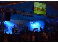 Bühnenlichteffekte, Videowall auf Zeltdach