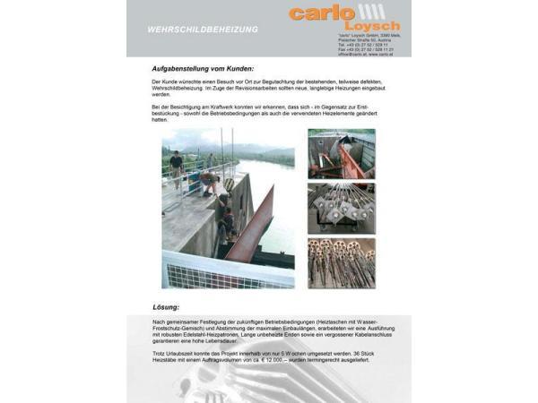 Vorschau - Beispiel Sonderfertigung: Wehrschildbeheizung Kraftwerk
