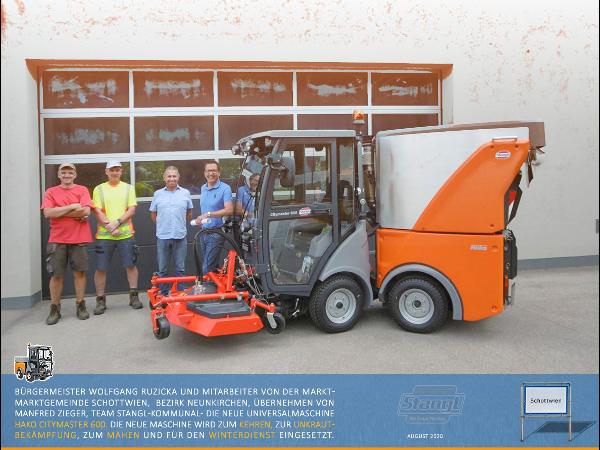 Marktgemeinde Schottwien übernimmt eine neu Hako Citymaster 600 von Stangl Reinigungtechnik