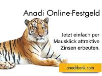 Jetzt online attraktive Zinsen sichern mit dem Anadi Online-Festgeld.