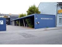 Aussenaufnhame der Einfahrt zur Medienfabrik Graz - dem steirischen Druckzentrum