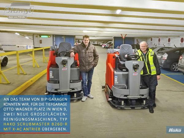 Neue Grossflächen Reinigungsmaschine für BIP-Garagen in Wien von Stangl Reinigungtechnik
