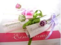 """Hochzeitseinladungskarte """"Rolle mit Rose"""""""