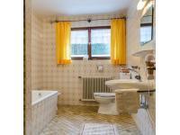 Bad mit WC, Dusche und Badewanne zur Ferienwohnung