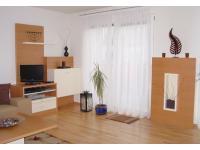Wohnzimmer Buche furniert mit weiß lackiert kombiniert