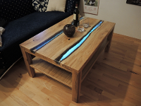 Wohnzimmertisch - Eiche - Epoxidharz - LED-Beleuchtung