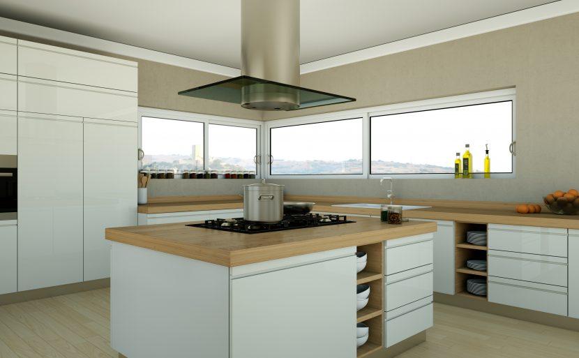 Eine Kochinsel Mit Integriertem Kochfeld