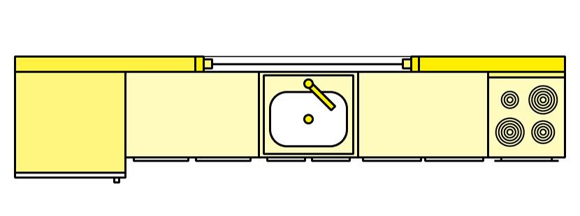 Küchenplanung; Einzeilige Küche