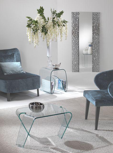 Italienische Glasdesignmöbel aus gebogenem Glas im Kombination mit extravagantem Wandspiegel