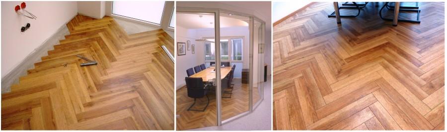 Kreativer Innenausbau: Designboden mit Parkettoptik. Materialstärke lediglich 2 mm, dabei aber höchst belastbar. Ausgezeichnet geeignet für Schauräume, Büros, Boutiquen, usw.