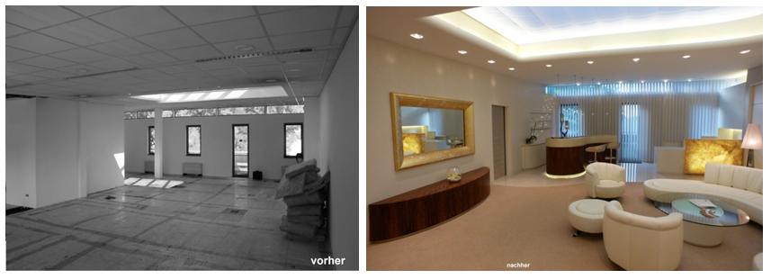 Kreativer Innenausbau: Umbau eines Büros zu einem repräsentativen Empfangsbereich  im Vergleich vorher und nachher.