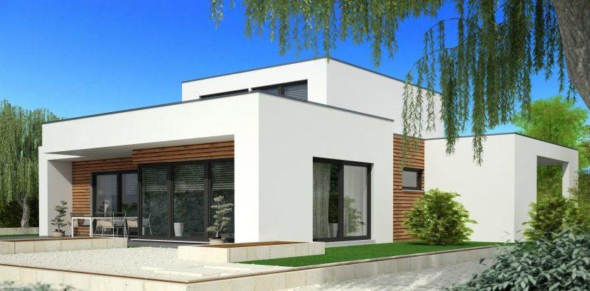 Ein modernes Haus mit einem Flachdach