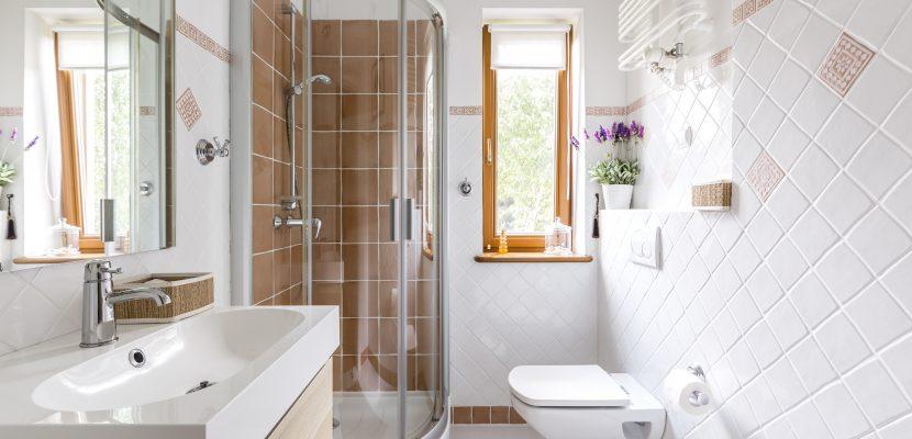 kleines Badezimmer mit Dusche und weißen Fliesen