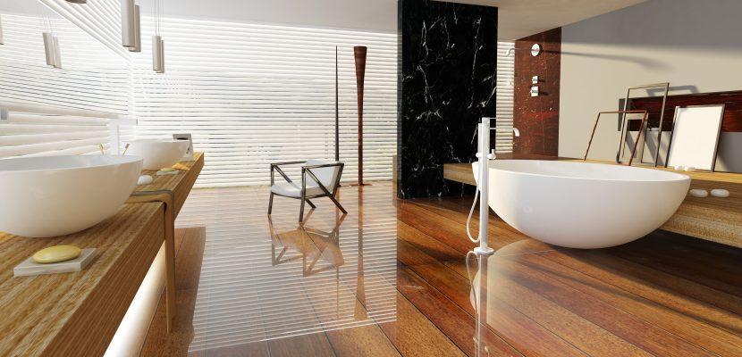 Modernes großräumiges Badezimmer in Holzoptik