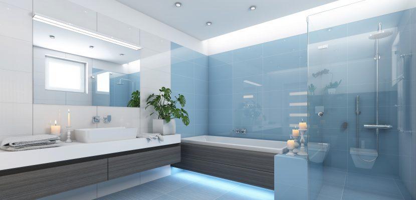 Blaues Badezimmer mit Lichtelementen
