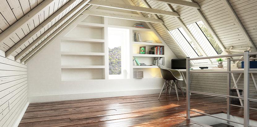 Bild von einem ausgebauten Dachboden, nachdem der Dachstuhl angehoben wurde. Dachstuhl anheben Kosten.