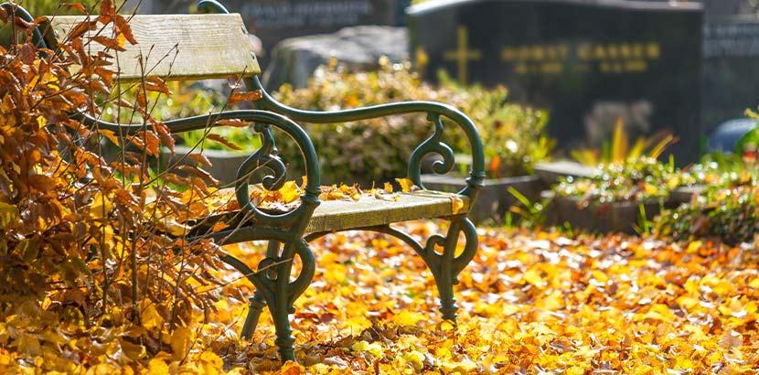 Alte Sitzbank mit geschwungenen Messingfüßen im Herbst auf einem Friedhof. Perfekter Ort, um die Bestattungsverfügung zu schreiben.