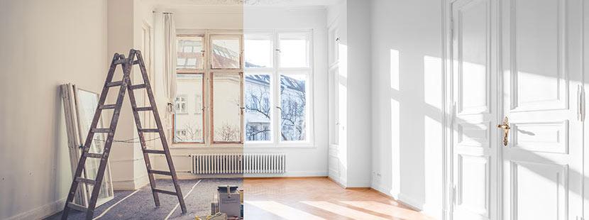 Bild eines Zimmers im Altbau vor und nach der Sanierung. Was kann die Altbausanierung kosten?