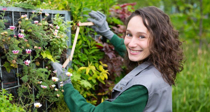 Junge Landschaftsgärtnerin, die an einem Projekt arbeitet und in die Kamera lächelt. Was darf Gartenplanung kosten?
