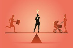 Grafische Darstellung einer Frau, die mitten im Arbeitsleben steht und sich zwischen Beruf und Familie entscheiden muss. Social Freezing kann eine Lösung sein.