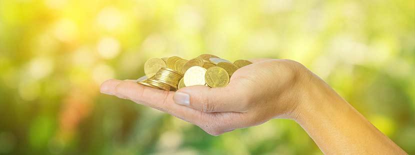 Geöffnete Frauenhand, die viele goldene Münzen hält. Symbolischer Hochzeitsbrauch für eine Ehe, in der niemals das Geld ausgeht.