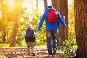 Vater mit Sohn beim Wandern in Niederösterreich, Rückenansicht.