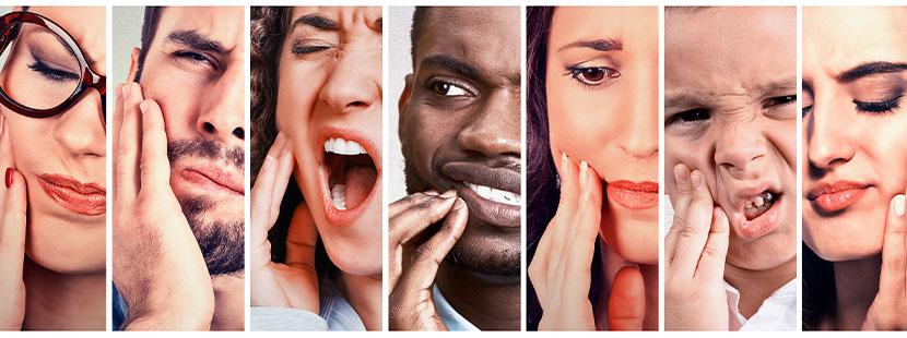 Gruppe von verschiedenen Menschen, darunter auch ein Kind, mit Zahnschmerzen nach einer Zahnfüllung.