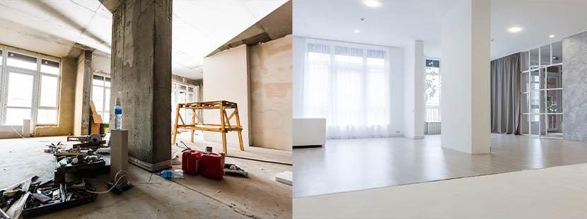 Gegenüberstellung eines Raumes vor und nach der Sanierung. Altbausanierung Förderung Sanierungsscheck Informationen.