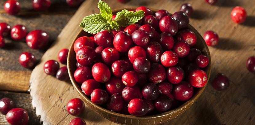Cranberrysaft gegen Blasenentzündung: Eine Schale voll mit Cranberrys auf einem Tisch.