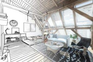 Am Computer vom Innenarchitekten erstellte Planung eines Raumes unter dem Dach.