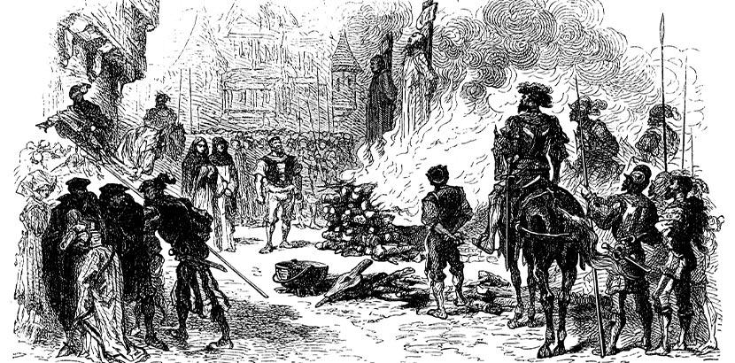 Radierung, die eine Hexenverbrennung in Wien zeigt. Morbides Wien.
