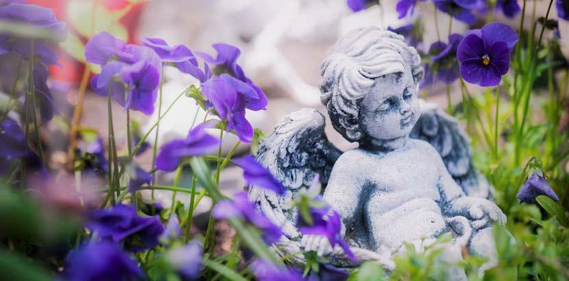 Kleiner Engel aus Gips, der am Babyfriedhof beim Zentralfriedhof Wien zwischen lila Blüten sitzt.