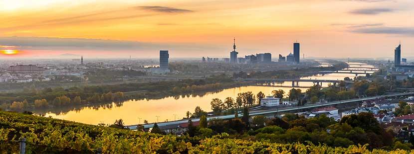 Herbstliches Wien-Panorama. Wien im Herbst.