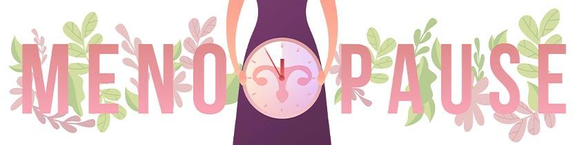 Grafik einer Frau, die eine Uhr hält, mit dem Schriftzug Menopause. Wechselbeschwerden lindern.