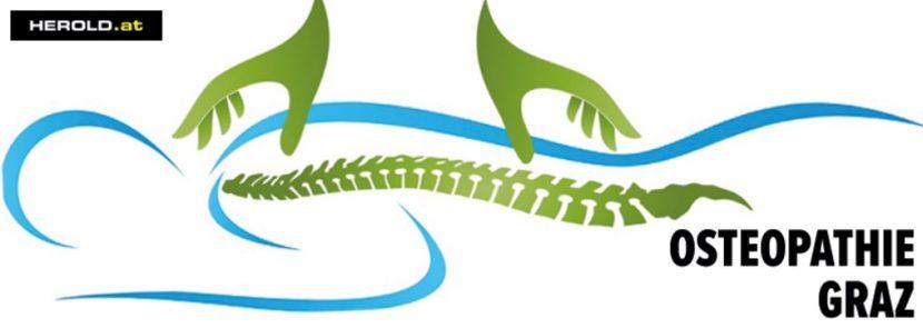 Blau-grüne Grafik einer Figur, die am Bauch liegt, und am Rücken behandelt wird. Osteopathie Graz.